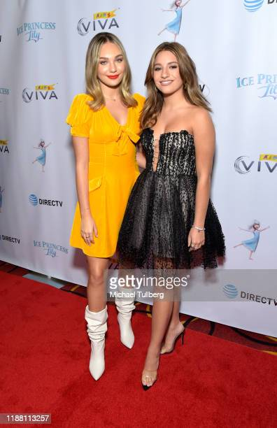 """Actors Maddie Ziegler and Mackenzie Ziegler attend the Los Angeles premiere of """"Ice Princess Lily"""" at AMC Santa Monica 7 on November 16, 2019 in..."""