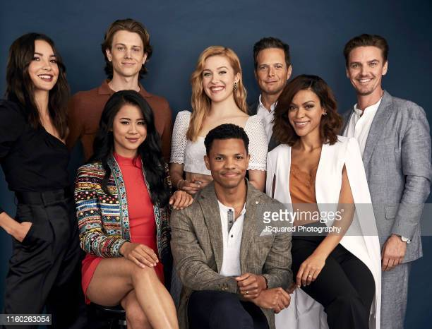 Actors Maddison Jaizani Alex Saxon Kennedy McMann Scott Wolf Riley Smith Leah Lewis Tunji Kasim and Alvina August of The CW's 'Nancy Drew' pose for a...