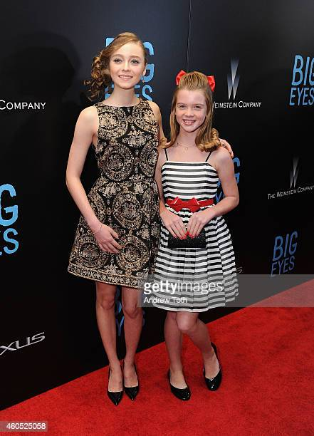 "Actors Madeleine Arthur and Delaney Raye attend ""Big Eyes"" New York premiere at Museum of Modern Art on December 15, 2014 in New York City."