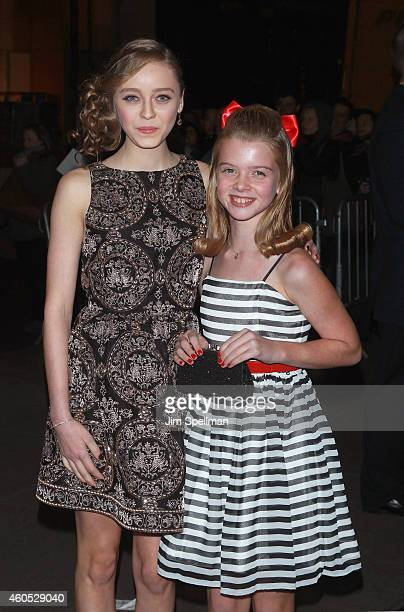 "Actors Madeleine Arthur and Delaney Raye attend the ""Big Eyes"" New York premiere at Museum of Modern Art on December 15, 2014 in New York City."