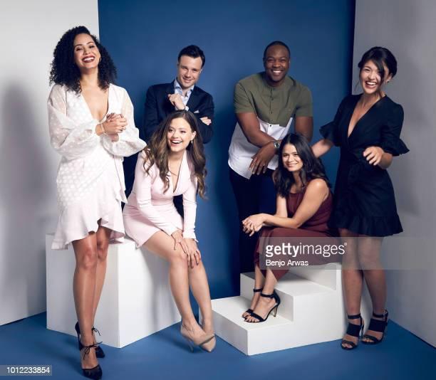 Actors Madeleine Mantock Sarah Jeffery Rupert Evans Ser'Darius Blain Melonie Diaz and Ellen Tamaki of CW's 'Charmed' pose for a portrait during the...