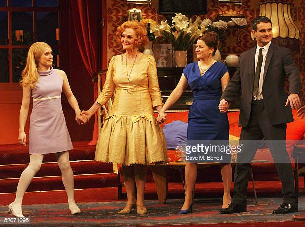 Actors Madeleine Worrall, Sheila Hancock, Rosie Cavaliero and John Marquez take a bow at the curtain call following the first night of Sheila...