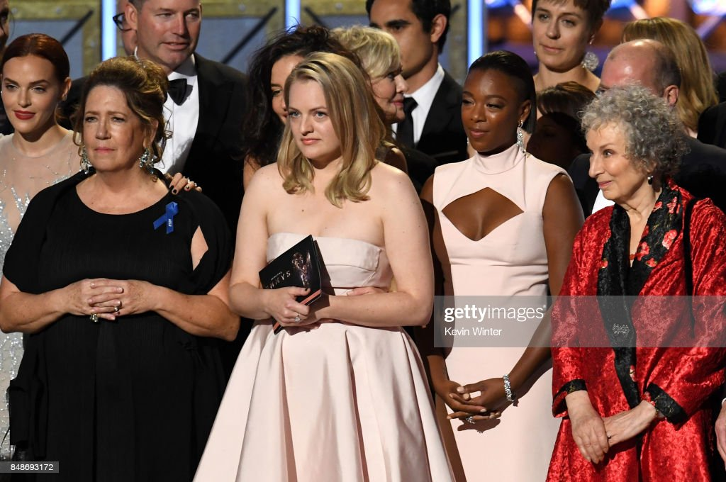 Actors Madeline Brewer, Ann Dowd, Elisabeth Moss, and Samira Wiley and author Margaret Atwood with cast and crew of 'The Handmaid's Tale' accept the Outstanding Drama Series award onstage during the 69th Annual Primetime Emmy Awards at Microsoft Theater on September 17, 2017 in Los Angeles, California.