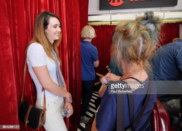 Actors Madeline Zima and Kimmy Robertson speak at Showtime's 'Twin Peaks' Double R Diner PopUp on Melrose Avenue on October 20 2017 in Los Angeles...