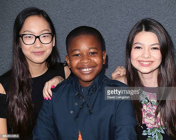 Actors Madison Hu Brandon Severs and Nikki Hahn attend Baby Kaely's End of Summer Bash at The Mag Park on July 30 2016 in Burbank California