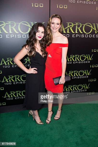 Actors Madison McLaughlin and Danielle Panabaker arrive on the green carpet for the celebration of the 100th Episode of CW's Arrow at the Fairmont...