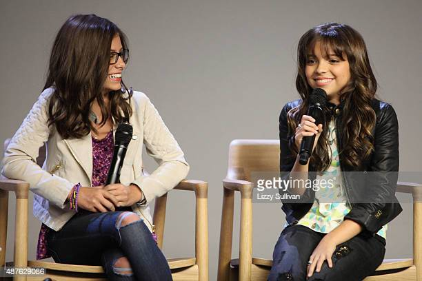 Actors Madisyn Shipman and Cree Cicchino event Meet the Cast Nickelodeon's Game Shakers at the Apple Store Soho on September 10 2015 in New York City
