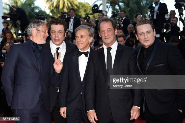 Actors Mads Mikkelsen Benicio del Toro Christoph Waltz Vincent Lindon and Benoit Magimel attends the 70th Anniversary of the 70th annual Cannes Film...
