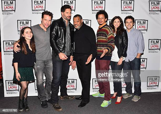 Actors Mae Whitman Dane Cook Joe Manganiello Laurence Fishburne Eric Andre Michaela Watkins and Fred Savage attend The Film Independent's Live Read...