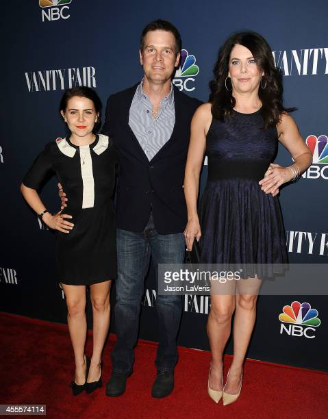 Actors Mae Whitman Peter Krause and Lauren Graham attend the NBC Vanity Fair 2014 2015 TV season event at HYDE Sunset Kitchen Cocktails on September...