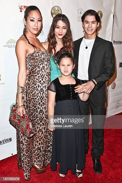 Actors Maegan Stewart Fivel Stewart BooBoo Stewart and Sage Stewart arrive at the 21st annual Los Angeles Music Awards at Avalon on November 10 2011...