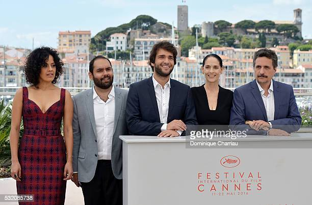 Actors Maeve Jinkings Fabio Leal Humberto Carrao Sonia Braga and director Kleber Mendonca Filho attend the 'Aquarius' photocall during the 69th...