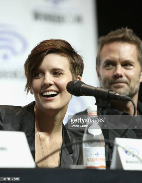 Actors Maggie Grace and Garret Dillahunt speak onstage during AMC's 'Fear of the Walking Dead' panel at WonderCon at Anaheim Convention Center on...
