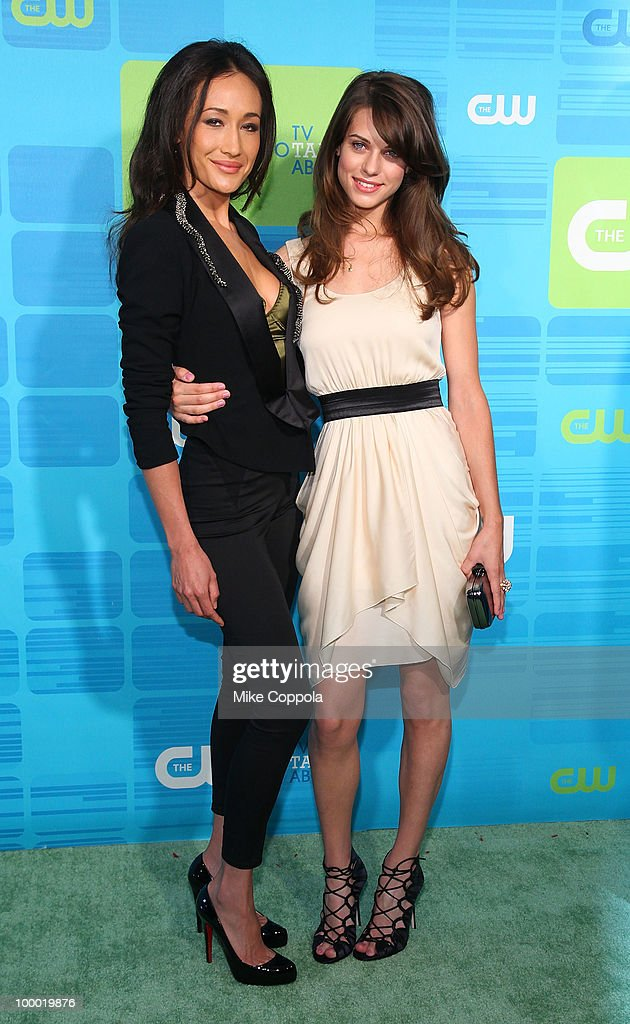 Actors Maggie Q (L) and Lyndsy Fonseca attend the 2010 The CW UpFront at Madison Square Garden on May 20, 2010 in New York City.