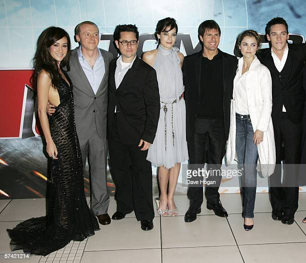 Actors Maggie Q and Simon Pegg director JJ Abrams actors Michelle Monaghan Tom Cruise Keri Russell and Jonathan Rhys Meyers arrive at the UK Premiere...