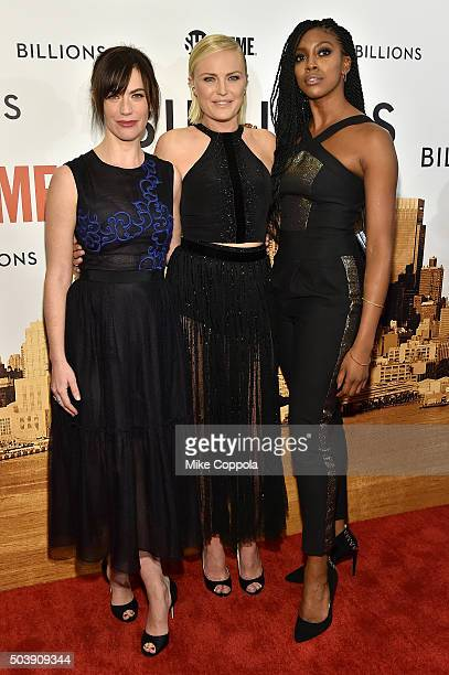 Actors Maggie Siff Malin Akerman and Condola Rashad attend the Showtime series premiere of Billions at The New York Museum Of Modern Art on January 7...
