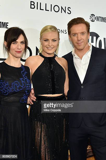 Actors Maggie Siff Malin Akerman and Damian Lewis attend the Showtime series premiere of Billions at The New York Museum Of Modern Art on January 7...