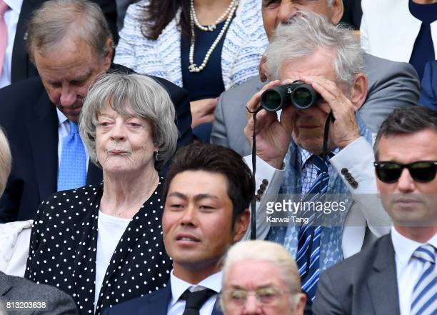 Actors Maggie Smith and Sir Ian McKellen attend day nine of the Wimbledon Tennis Championships at the All England Lawn Tennis and Croquet Club on...