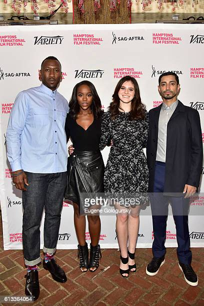 Actors Mahershala Ali Aja Naomi King Kara Hayward and Riz Ahmed attend Variety's 10 To Watch Brunch and Panel during the Hamptons International Film...