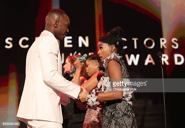Actors Mahershala Ali and Janelle Monae during The 23rd Annual Screen Actors Guild Awards at The Shrine Auditorium on January 29 2017 in Los Angeles...