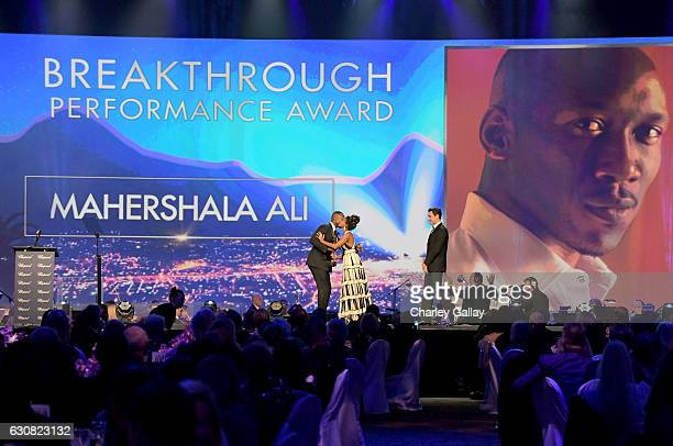 Actors Mahershala Ali and Janelle Monae speak onstage at the 28th Annual Palm Springs International Film Festival Film Awards Gala at the Palm...