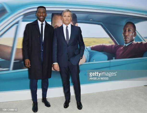 Actors Mahershala Ali and Viggo Mortensen attend the Premiere of 'Green Book' at The Paris Theatre on November 13 2018 in New York City