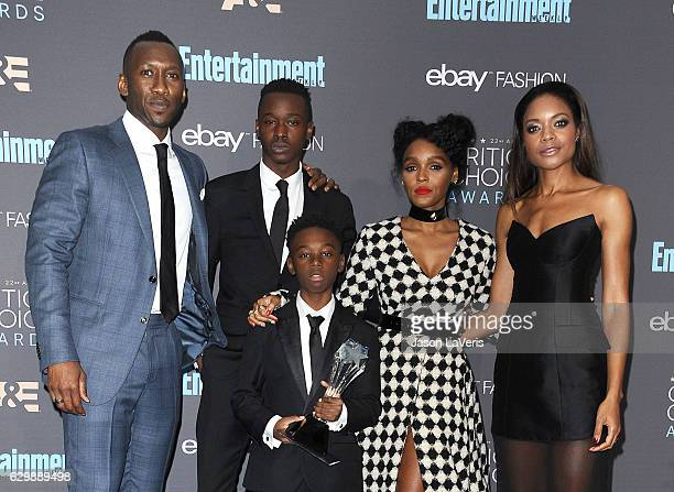 Actors Mahershala Ali Ashton Sanders Alex R Hibbert Janelle Monae and Naomie Harris winners of Best Acting Ensemble for 'Moonlight' pose in the press...
