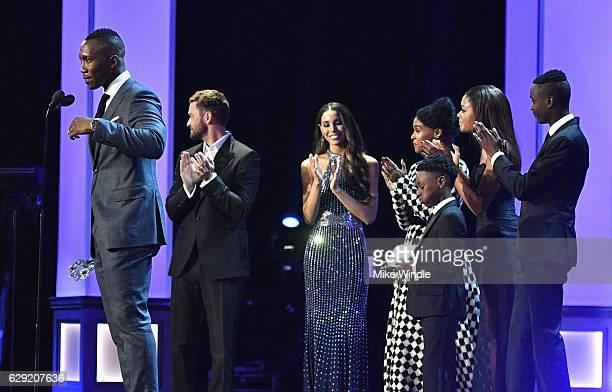 Actors Mahershala Ali Janelle Monae Alex R Hibbert Ashton Sanders and Naomie Harris accept the Best Acting Ensemble award for 'Moonlight' from...