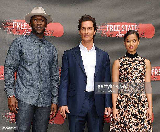 Actors Mahershala Ali Matthew McConaughey and Gugu MbathaRaw attend a photo call for Free State of Jones at Four Seasons Hotel Los Angeles at Beverly...