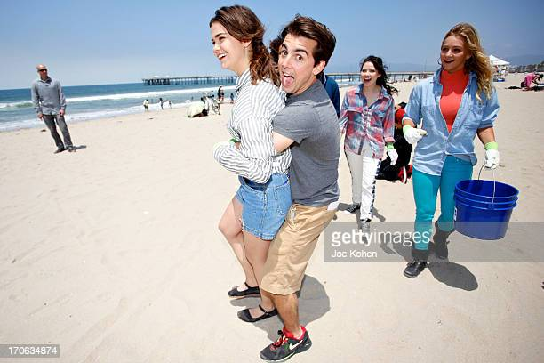 """Actors Maia Mitchell and John DeLuca, stars of Disney's """"Teen Beach Movie"""", Join Heal The Bay For Beach Clean Up on June 15, 2013 in Venice,..."""