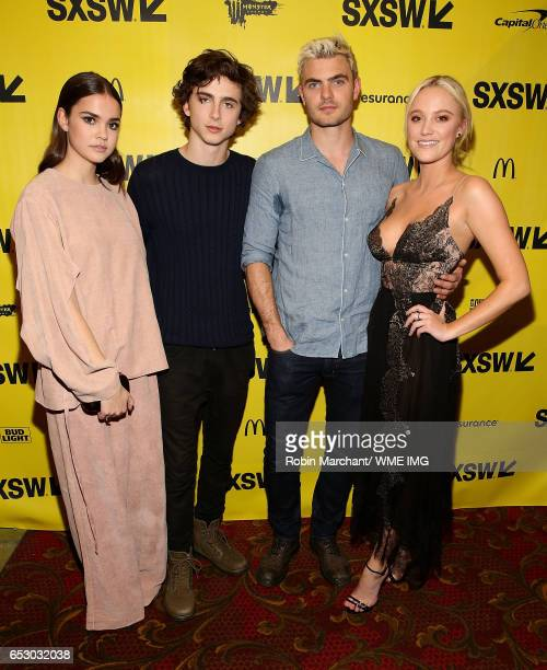 Actors Maia Mitchell Timothee Chalamet Maika Monroe and Alex Roe attend Imperative Entertainment's 'Hot Summer Nights' SXSW world premiere at...