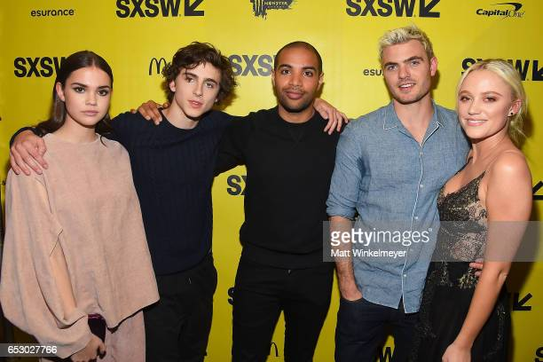 Actors Maie Mitchell Timothee Chalamet director Elijah Bynum actors Alex Roe and Maika Monroe attend the 'Hot Summer Nights' premiere 2017 SXSW...