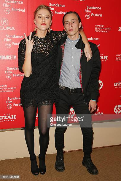 Actors Maika Monroe and Keir Gilchrist arrive at the 'It Follows' premiere during the 2015 Sundance Film Festival on January 24 2015 in Park City Utah