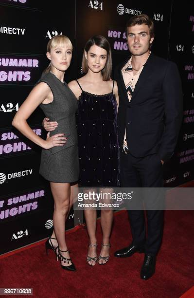 Actors Maika Monroe Maia Mitchell and Alex Roe arrive at the Los Angeles special screening of 'Hot Summer Nights' at the Pacific Theatres at The...