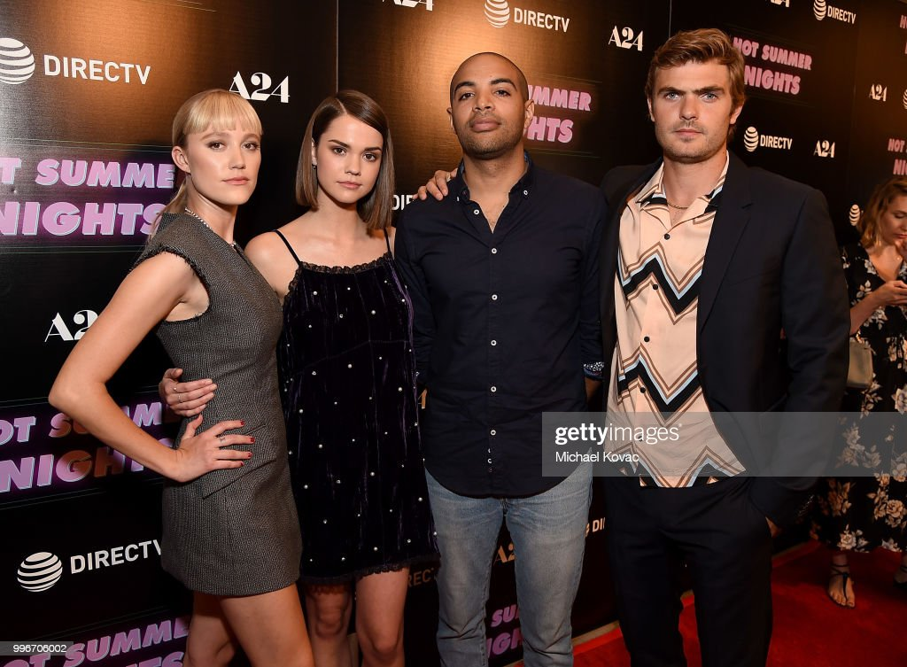 Actors Maika Monroe, Maia Mitchell, writer/director Elijah Bynum, and actor Alex Roe attend the Los Angeles Special Screening of 'Hot Summer Nights' on July 11, 2018 in Los Angeles, California.