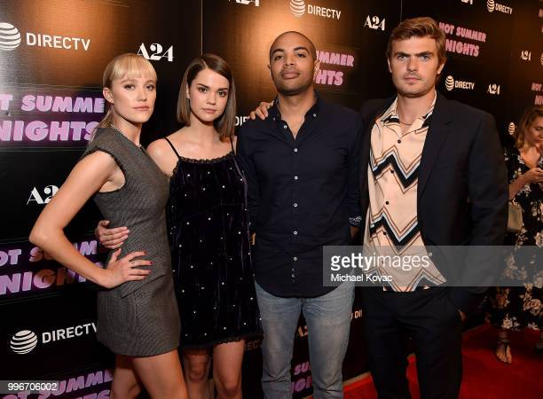 Actors Maika Monroe Maia Mitchell writer/director Elijah Bynum and actor Alex Roe attend the Los Angeles Special Screening of 'Hot Summer Nights' on...
