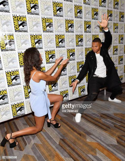 Actors Maisie RichardsonSellers and Franz Drameh attend DC's 'Legends Of Tomorrow' Press Line duirng ComicCon International 2017 at Hilton Bayfront...