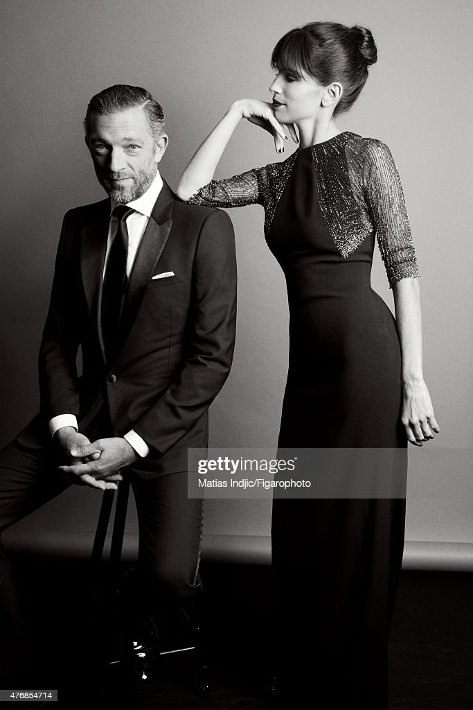 Actors Maiwenn and Vincent Cassel are is photographed for Madame Figaro on May 24, 2015 at the Cannes Film Festival in Cannes, France. Vincent: Tuxedo, shirt and tie (Dior Homme). Maïwenn: Dress (Saint Laurent par Hedi Slimane). Make-up by LOréal Paris.