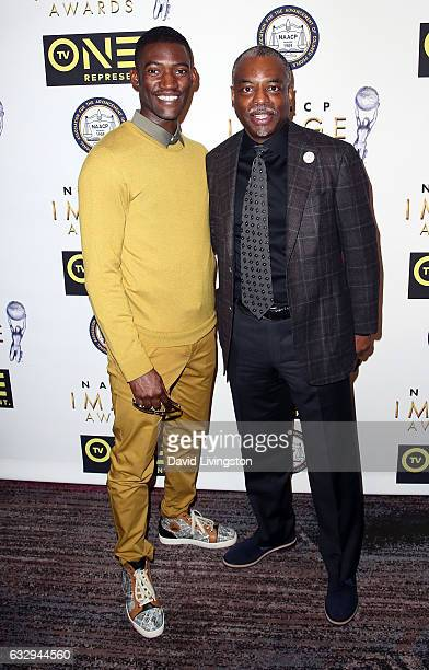 Actors Malachi Kirby and LeVar Burton attend the 48th NAACP Image Awards Nominees' Luncheon at Loews Hollywood Hotel on January 28 2017 in Hollywood...
