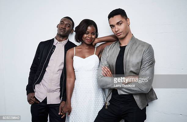 Actors Malachi Kirby Erica Tazel and RegeJean Page from Roots pose at the Tribeca Film Festival Getty Images Studio on April 21 2016 in New York City