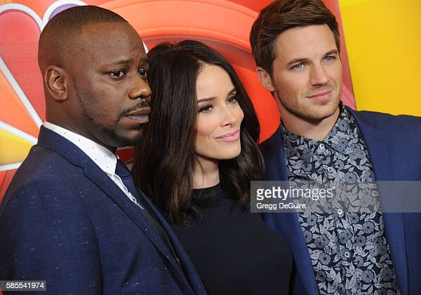 Actors Malcolm Barrett Abigail Spencer and Matt Lanter arrive at the 2016 Summer TCA Tour NBCUniversal Press Tour Day 1 at The Beverly Hilton Hotel...
