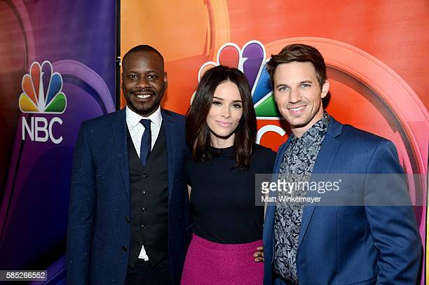 Actors Malcolm Barrett Abigail Spencer and Matt Lanter attends the NBCUniversal press day during the 2016 Summer TCA Tour at The Beverly Hilton Hotel...