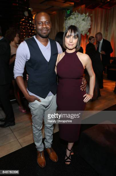 Actors Malcolm Barrett and Julie Ann Emery at AMC BBCA and IFC Emmy party at BOA Steakhouse on September 17 2017 in West Hollywood California
