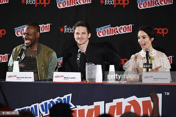 Actors Malcolm Barrett Matt Lanter and Abigail Spencer attend NBCs 'Timeless ' Screening Panel during the 2016 New York Comic Con Day 4 at on October...