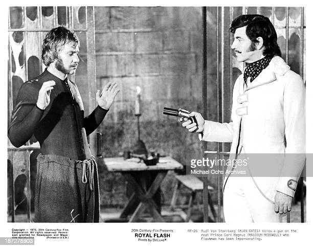 Actors Malcolm McDowell and Alan Bates on set of the 20th CenturyFox movie 'Royal Flash' in 1975