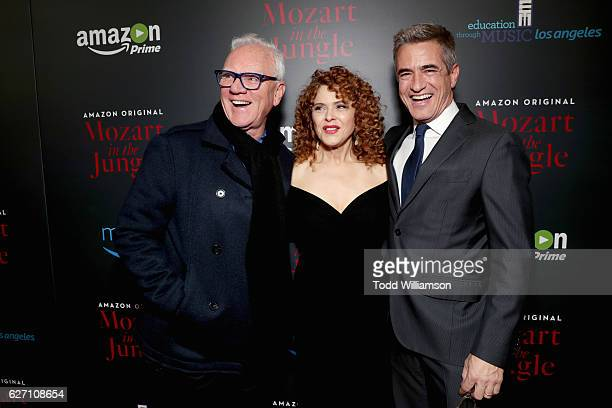 Actors Malcolm McDowell Bernadette Peters and Dermot Mulroney attend the 'Mozart In the Jungle' red Carpet premiere and concert held at The Grove on...