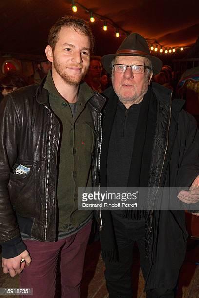 Actors Malik Zidi and Philippe Nahon attend the 'Menelas rebetiko rapsodie' premiere at Le Grand Parquet on January 9 2013 in Paris France