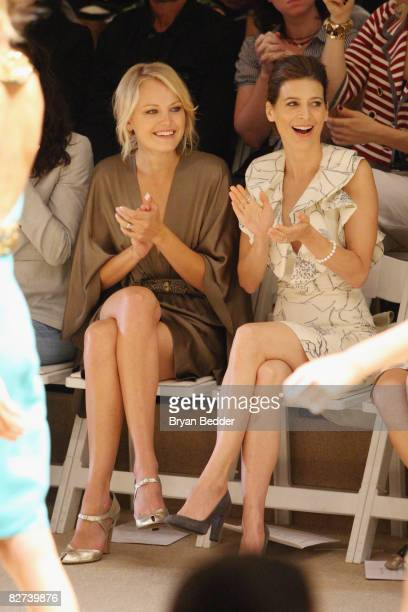 Actors Malin Ackerman and Perrey Reeves attend the Monique Lhuillier Spring 2009 fashion show during MercedesBenz Fashion Week at The Promenade...