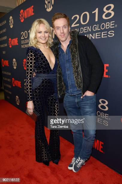 Actors Malin Akerman and Damian Lewis attend the Showtime Golden Globe Nominees Celebration at Sunset Tower on January 6 2018 in Los Angeles...
