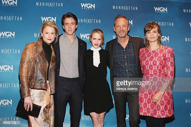 Actors Mamie Gummer Ashley Zuckerman Rachel Brosnahan John Benjamin Hickey and Katja Herbers attend the Manhattan Season Two Screening during the...